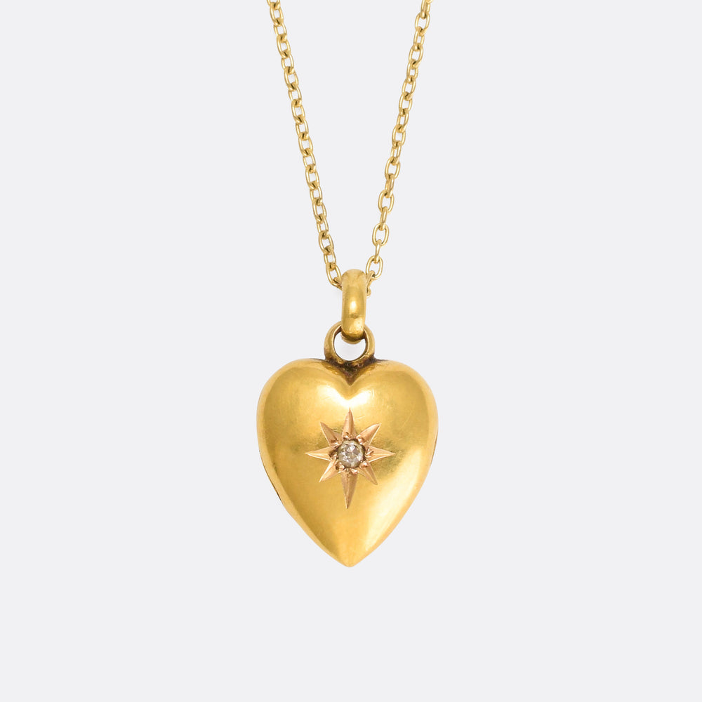 Tiny Edwardian Diamond Puffed Heart Locket