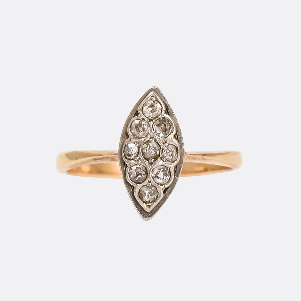 Victorian Diamond Navette Cluster Ring