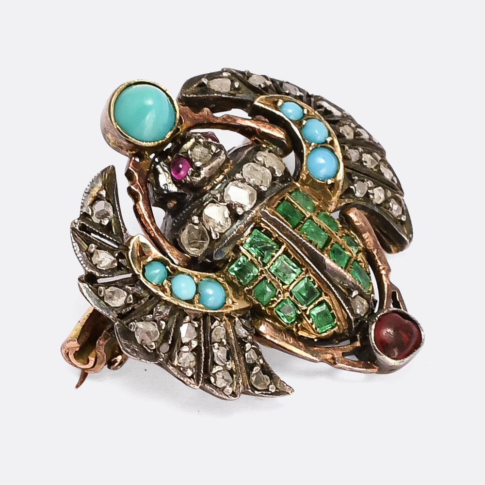 Victorian Egyptian Revival Winged Scarab Brooch
