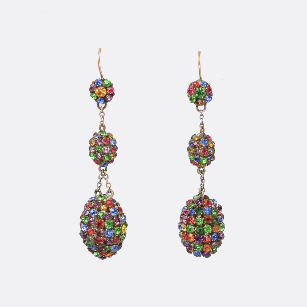 Victorian Harlequin Paste Dangle Earrings