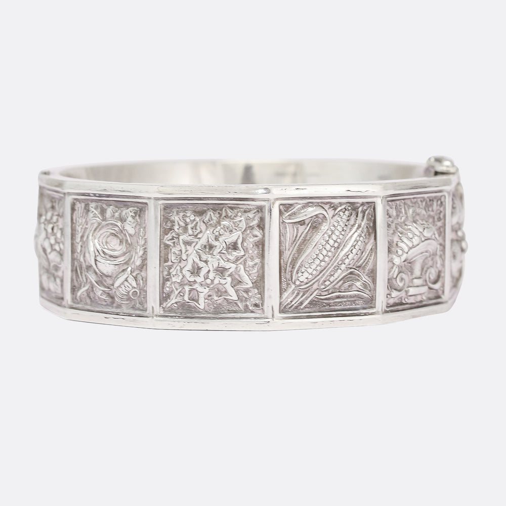 Victorian Language Of Flowers Silver Bangle