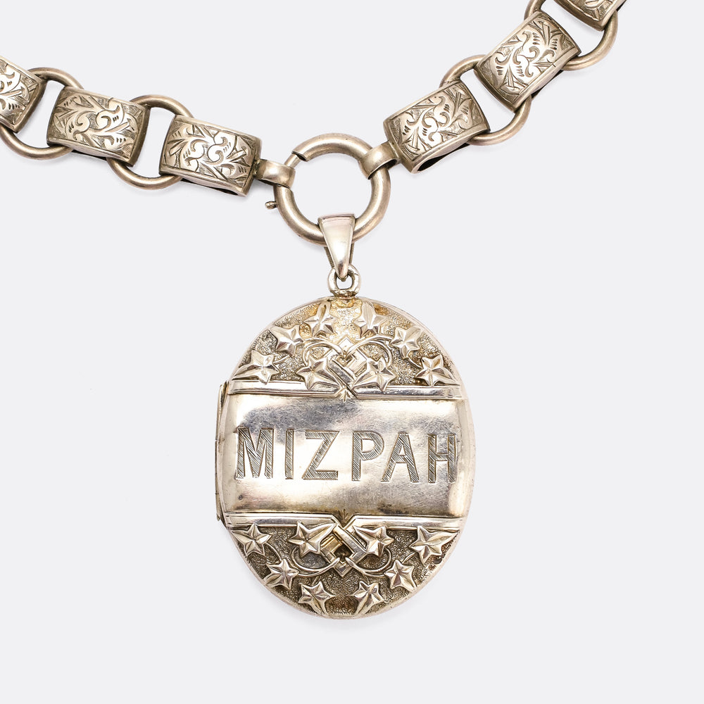 Victorian MIZPAH Silver Locket & Collar Necklace