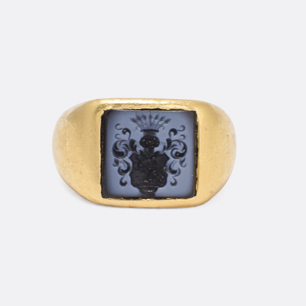 Victorian Nicolo Coat of Arms Intaglio Signet Ring