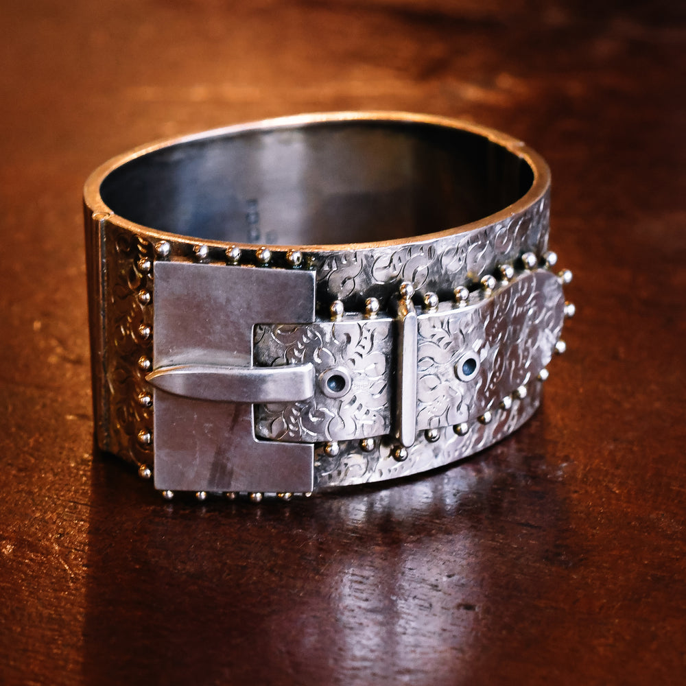 Victorian Oversized Sterling Silver Buckle Bangle