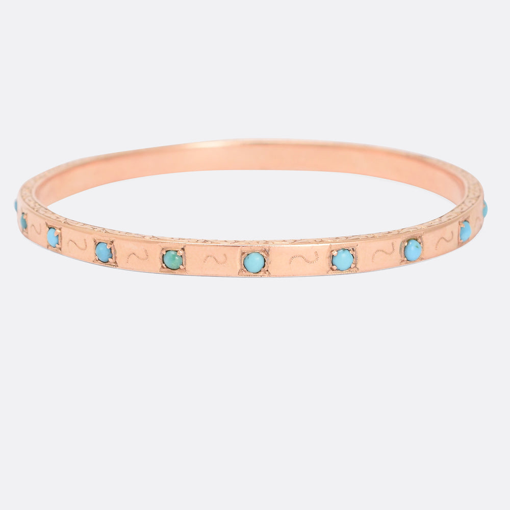 Victorian Rose Gold Turquoise Bangle