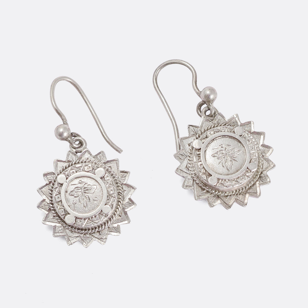 Victorian Silver Ivy & Sun Earrings