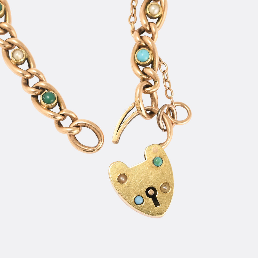 Victorian Turquoise & Pearl Curb-Link Bracelet with Heart Padlock