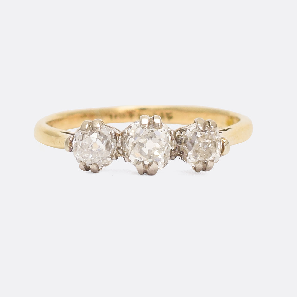 Victorian 1.08ct Diamond Trilogy Ring