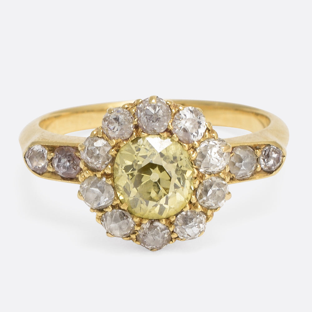 Victorian 1.0ct Fancy Yellow Diamond Cluster Engagement Ring