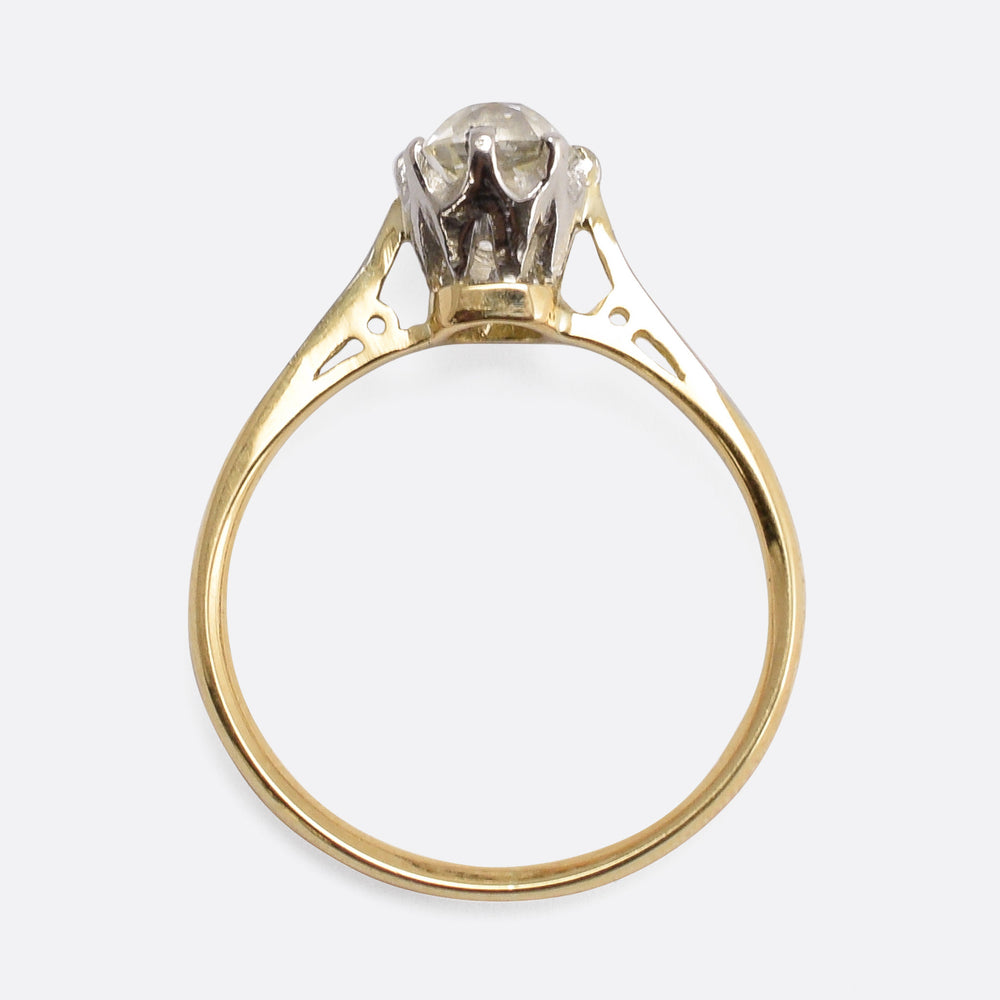 Victorian 1.5ct Old Mine Cut Diamond Solitaire Ring