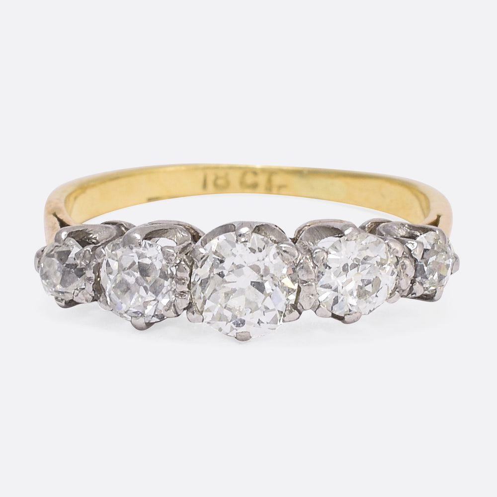 Victorian 1.62ct Old Cut Diamond 5-Stone Ring