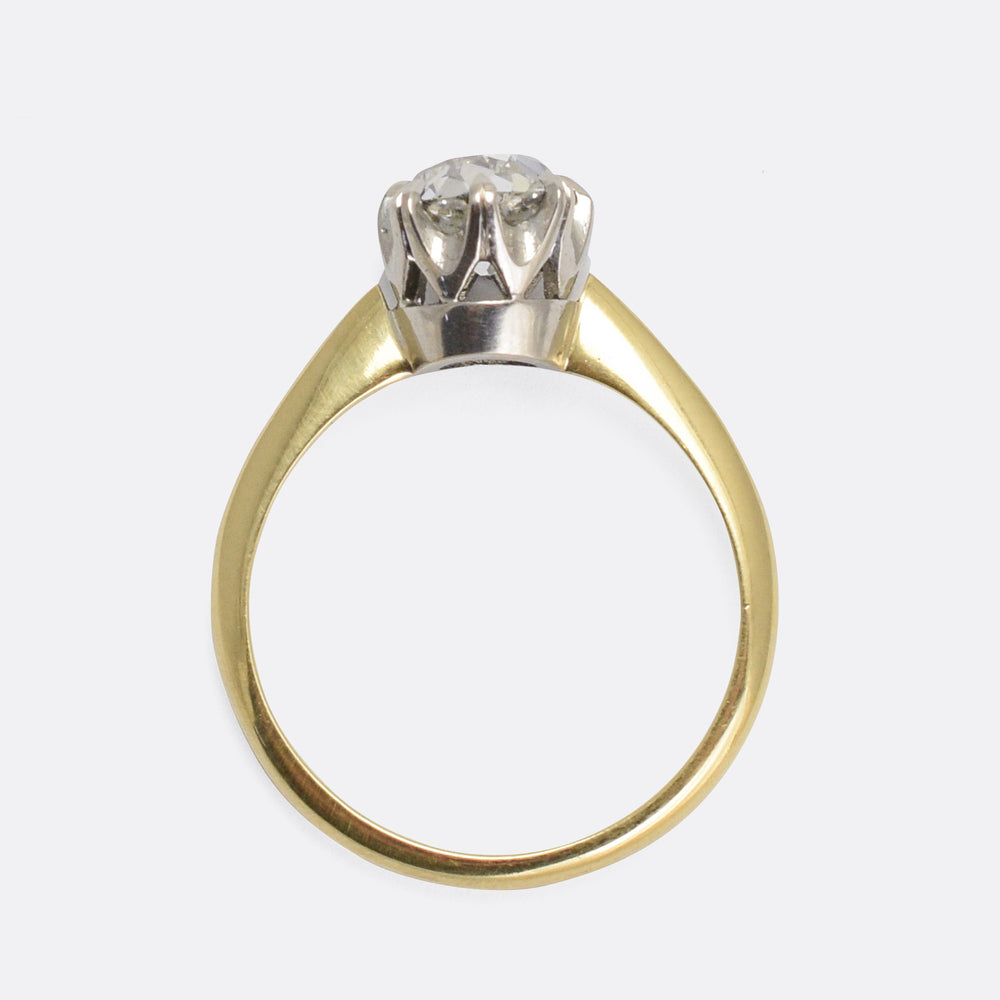 Victorian 1.69ct Cushion Cut Diamond Solitaire Ring