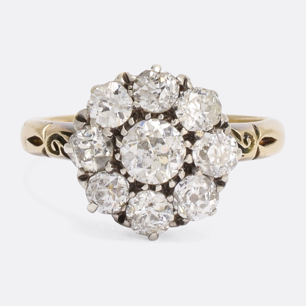 Victorian 1.8 Carat Old Cut Diamond Cluster Ring