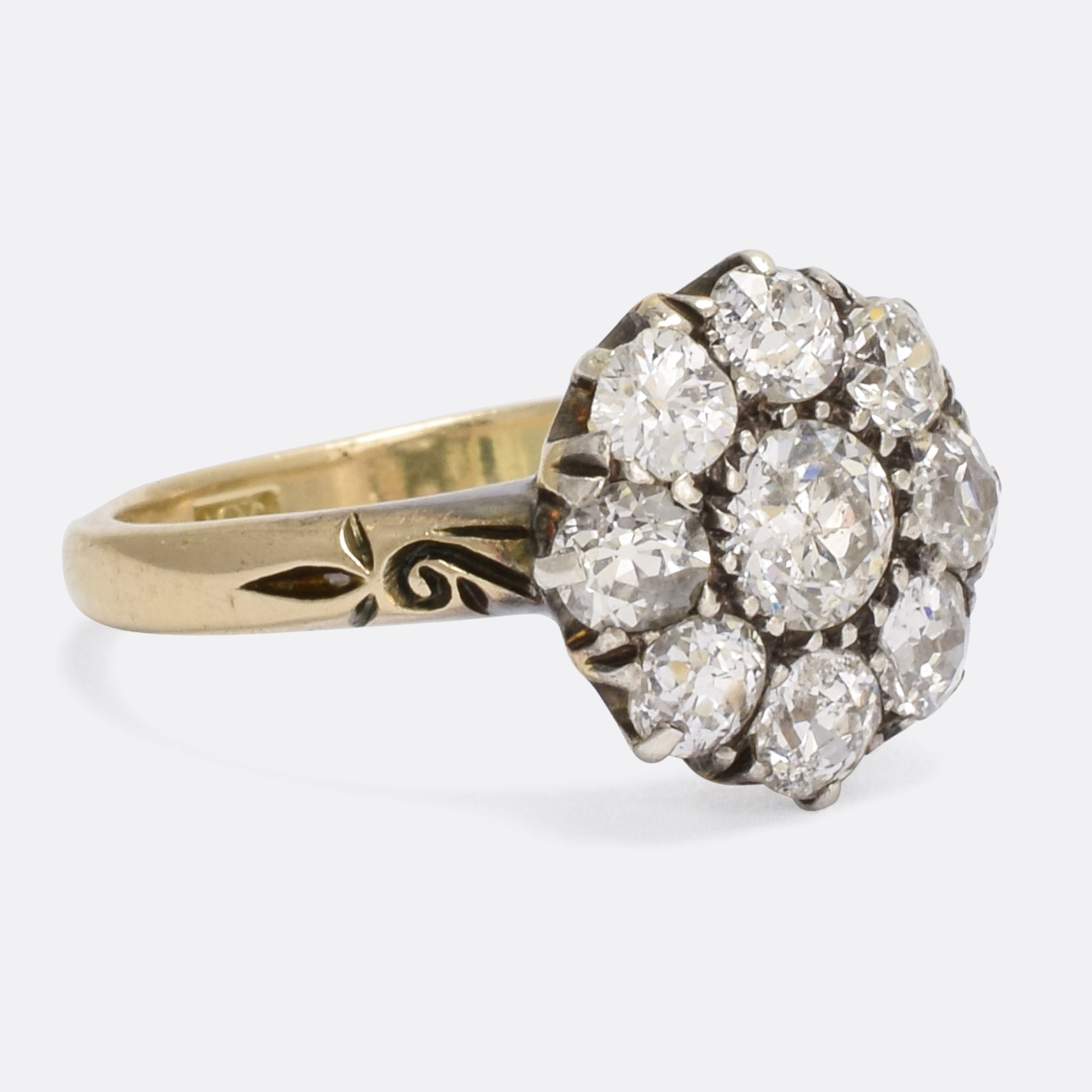 gold white diamond boat ring cluster shaped