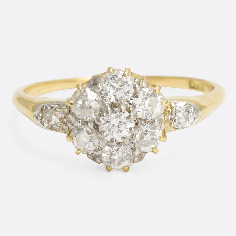Victorian 1.8ct Old Cut Diamond Cluster Ring