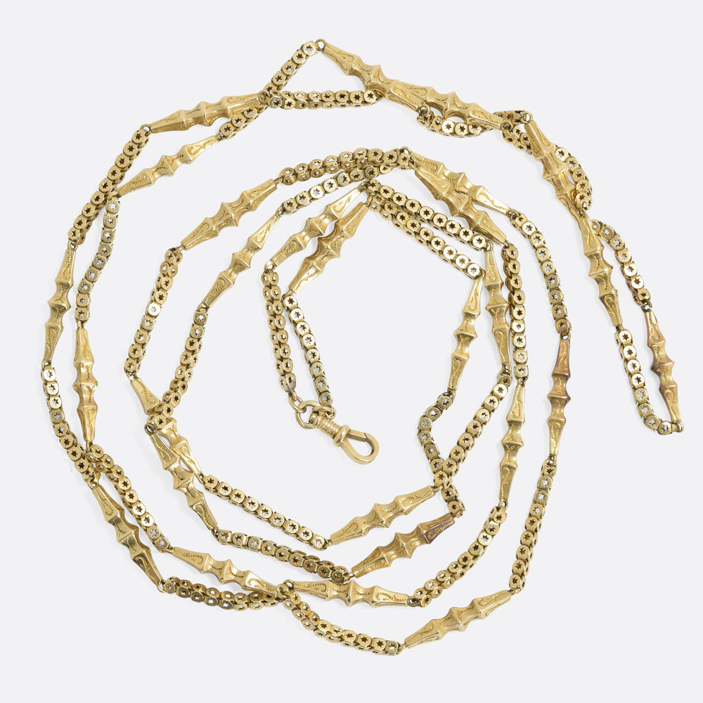 Victorian 15k Gold Fancy-Link Guard Chain 54