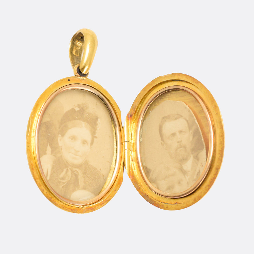 Victorian 15k Gold Foliate Chased Oval Locket