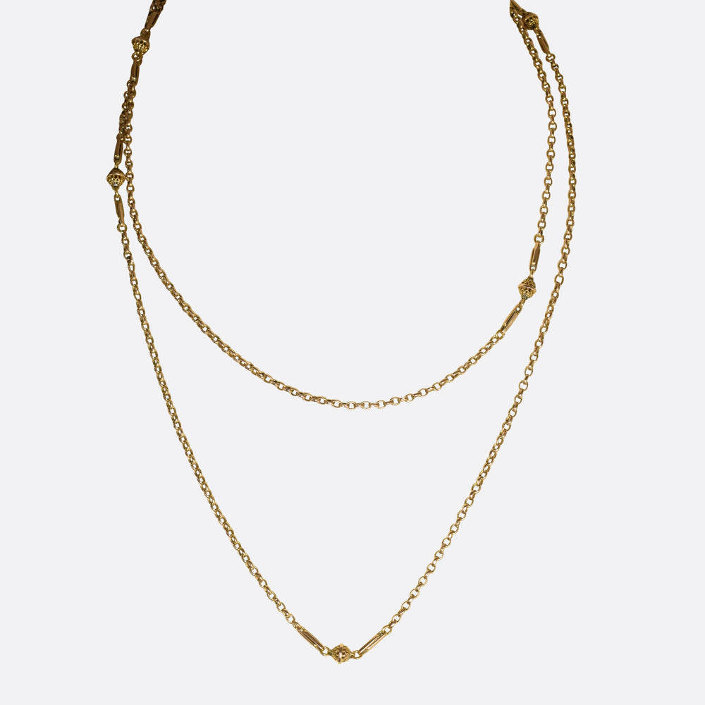 Victorian 15k Gold Guard Chain 40