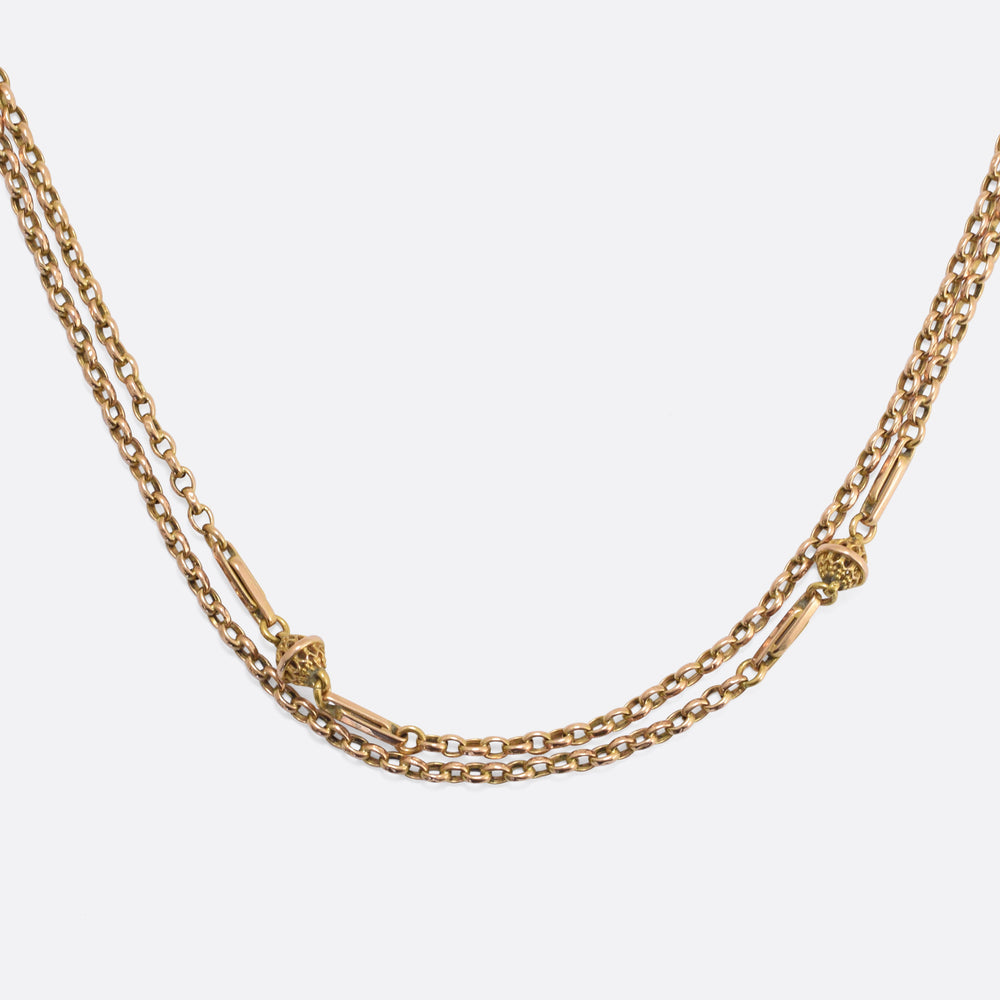 Victorian 15k Gold Guard Chain, 40