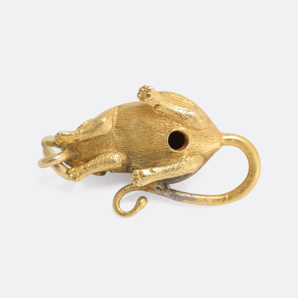 Victorian 15k Gold Mouse Charm