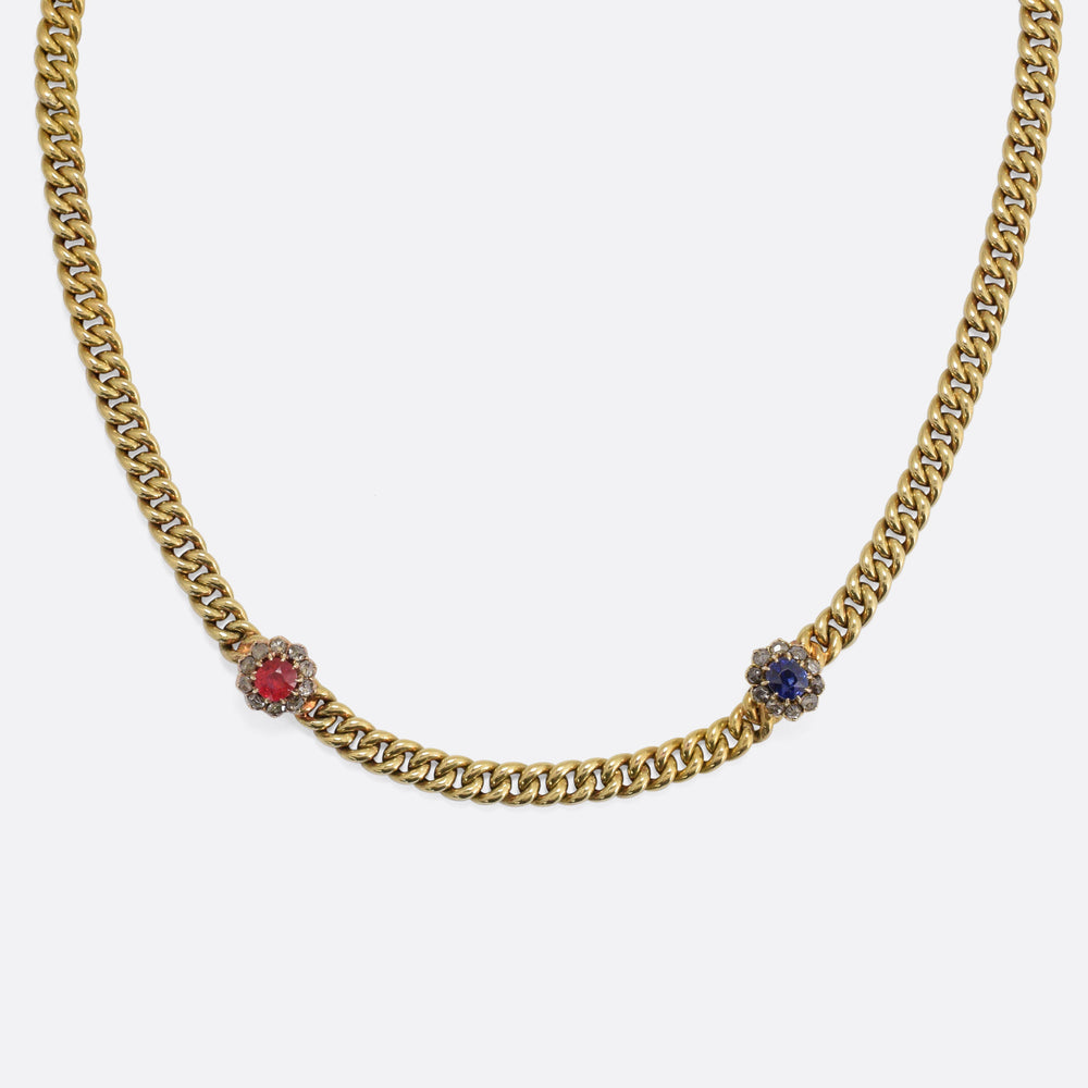 Victorian 15k Gold Ruby & Sapphire Cluster Necklace