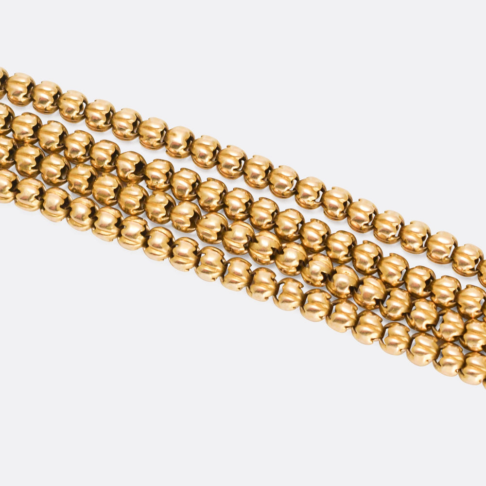 Victorian 18k Gold Ball Link Long Guard Chain