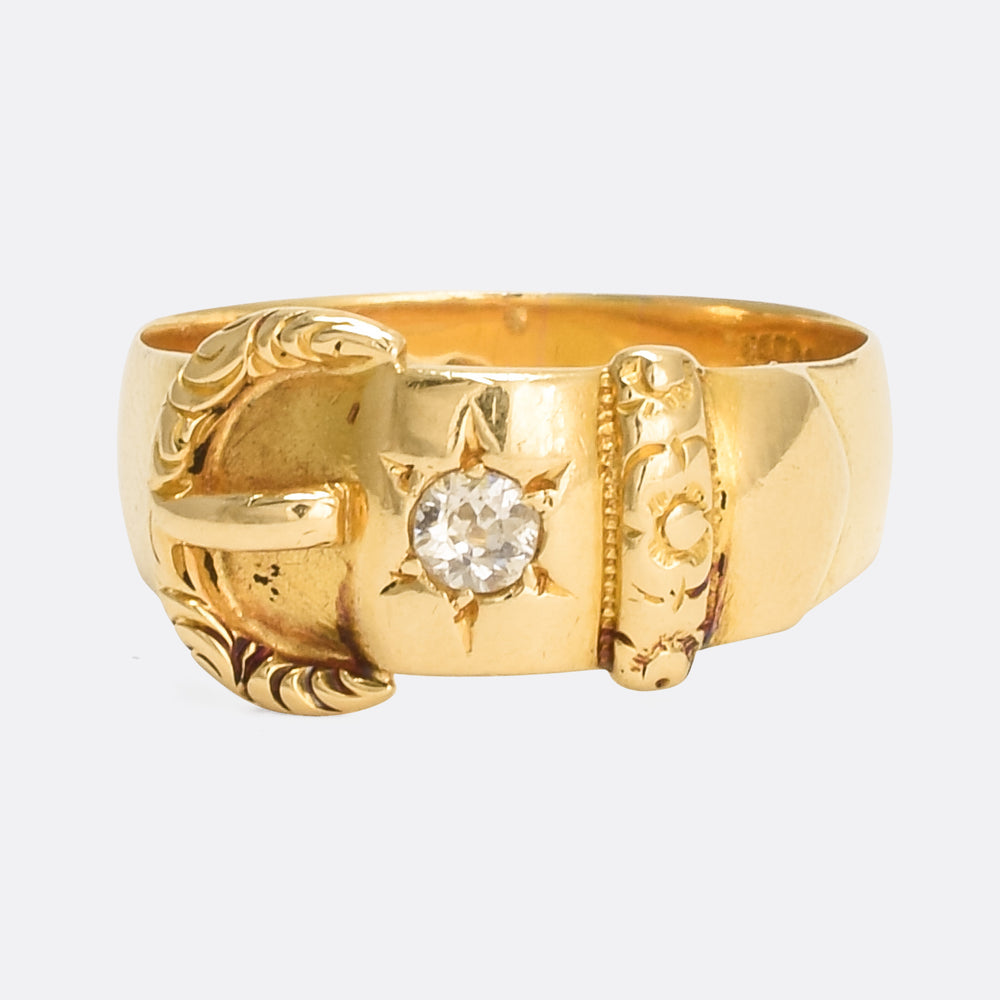 Victorian 18k Gold Diamond Buckle Ring