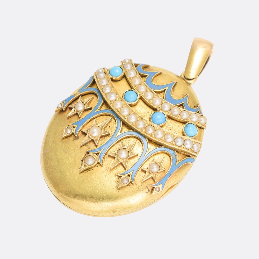 Victorian 18k Gold Turquoise Locket