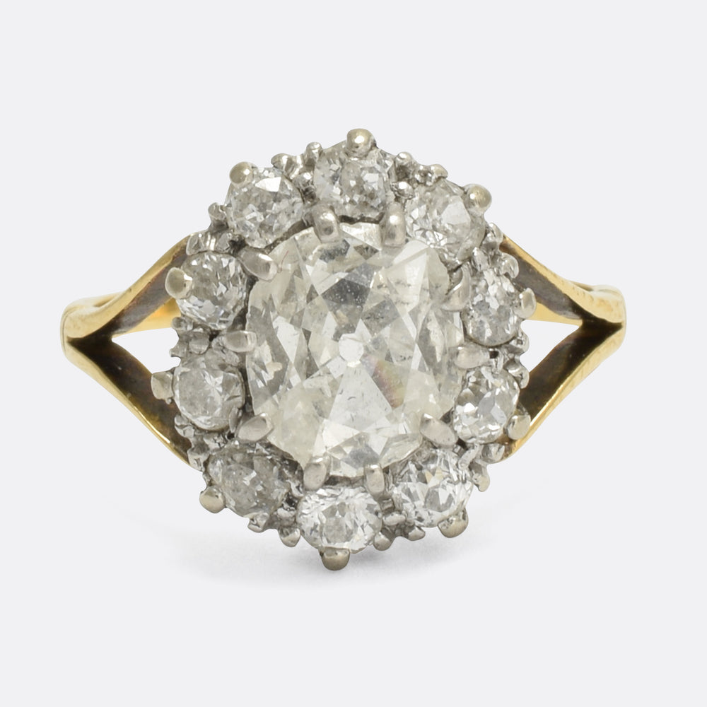 Victorian 2.1 Carat Old Cut Diamond Cluster Ring