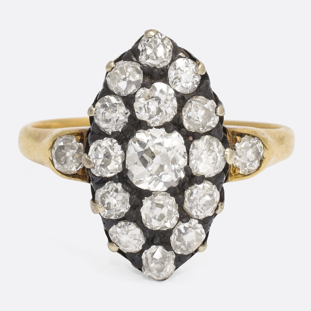 Victorian 2 Carat Old Cut Diamond Marquise Ring
