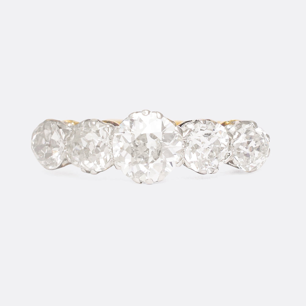Victorian 3.06ct Old Euro 5-Stone Diamond Ring