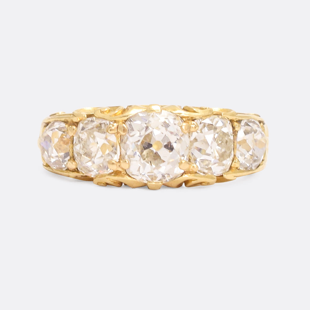 Victorian 3.52 Carat Cushion Cut Diamond 5-Stone Ring