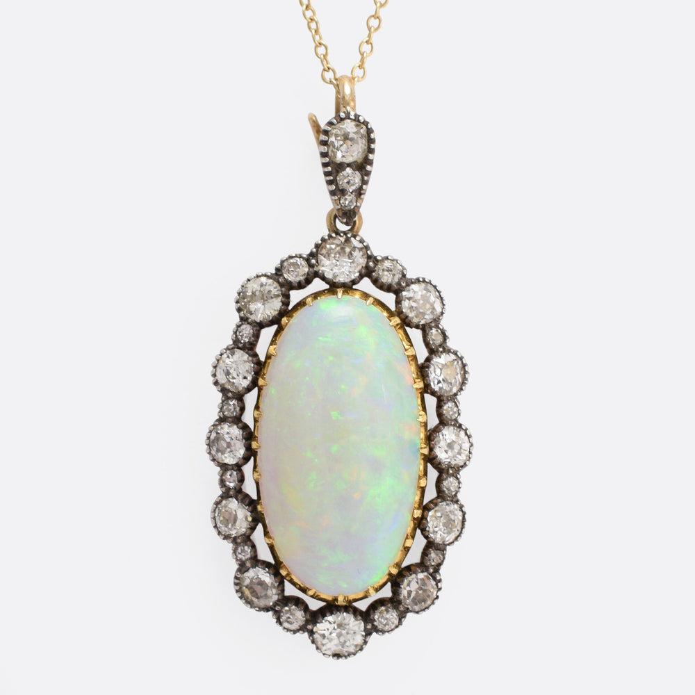 Victorian 7ct Opal and Diamond Pendant