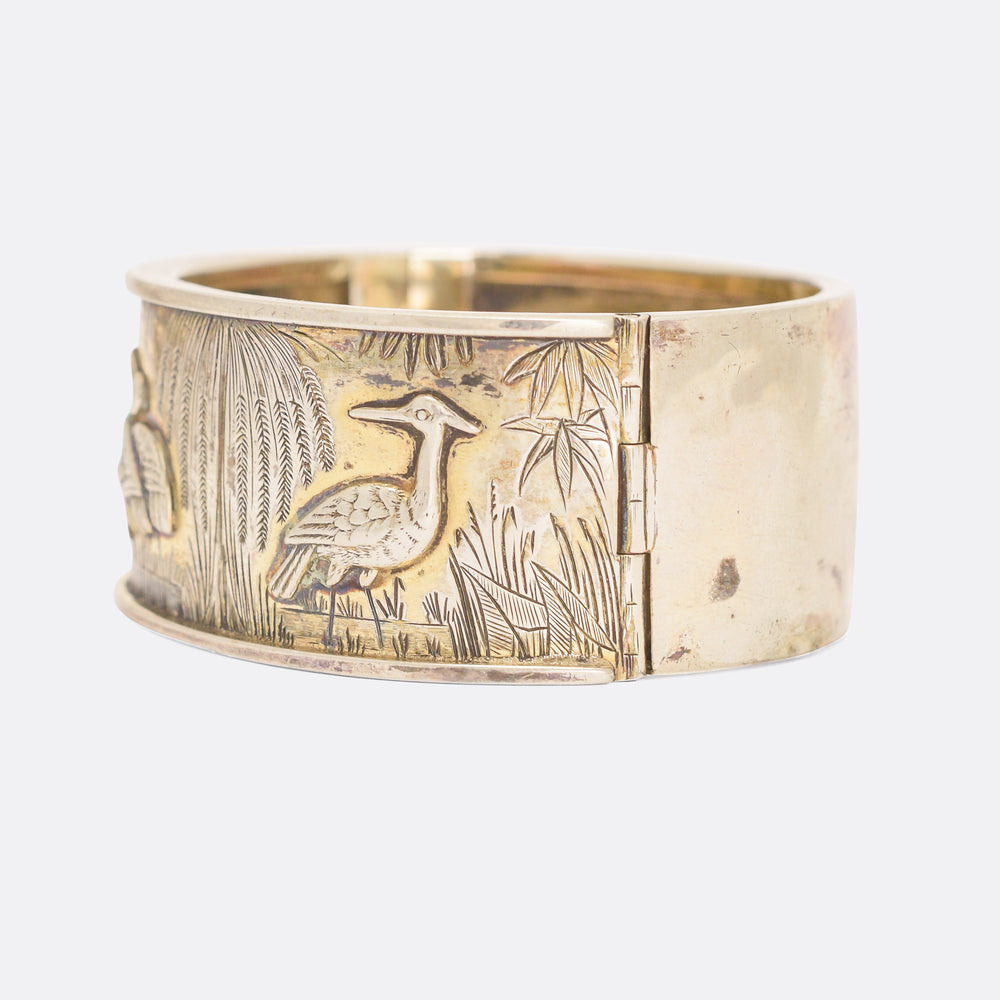 Victorian Aesthetic Movement Silver Cuff Bangle