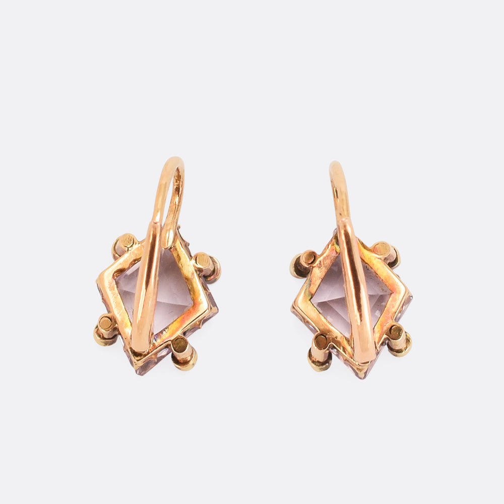 Victorian Amethyst & Diamond Leverback Earrings