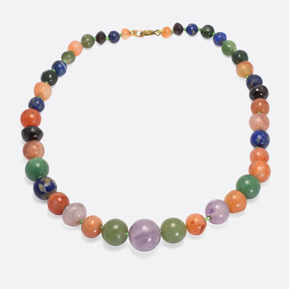 Victorian Amethyst, Lapis & Agate Bead Necklace