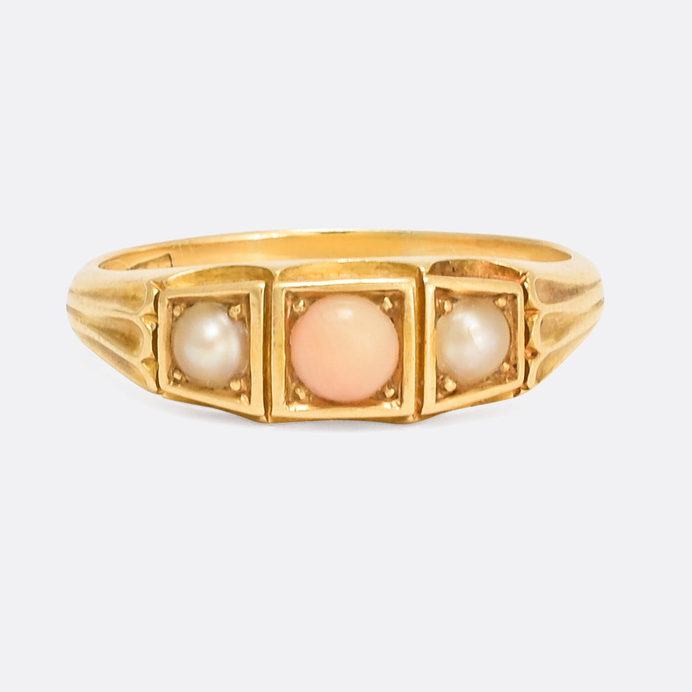 Victorian Angelskin Coral & Pearl Three-Stone Ring