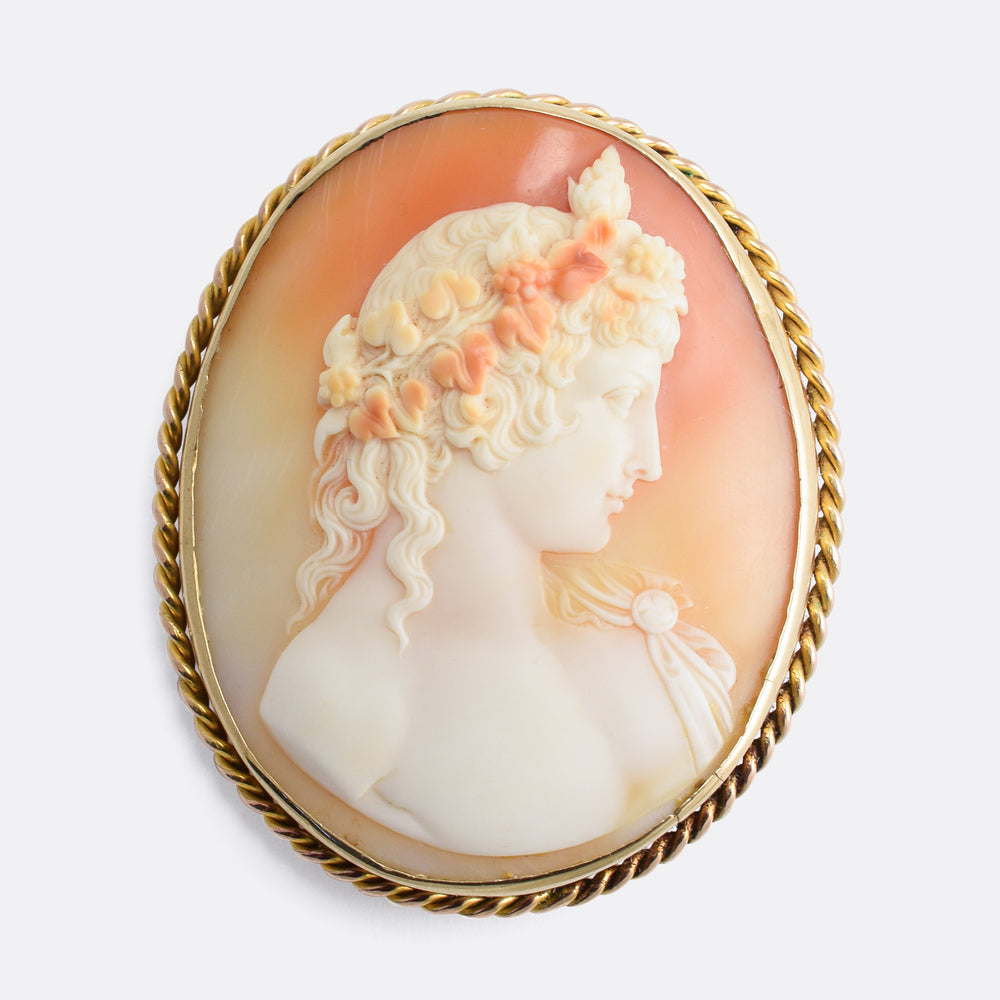 Victorian Antinous Shell Cameo Brooch
