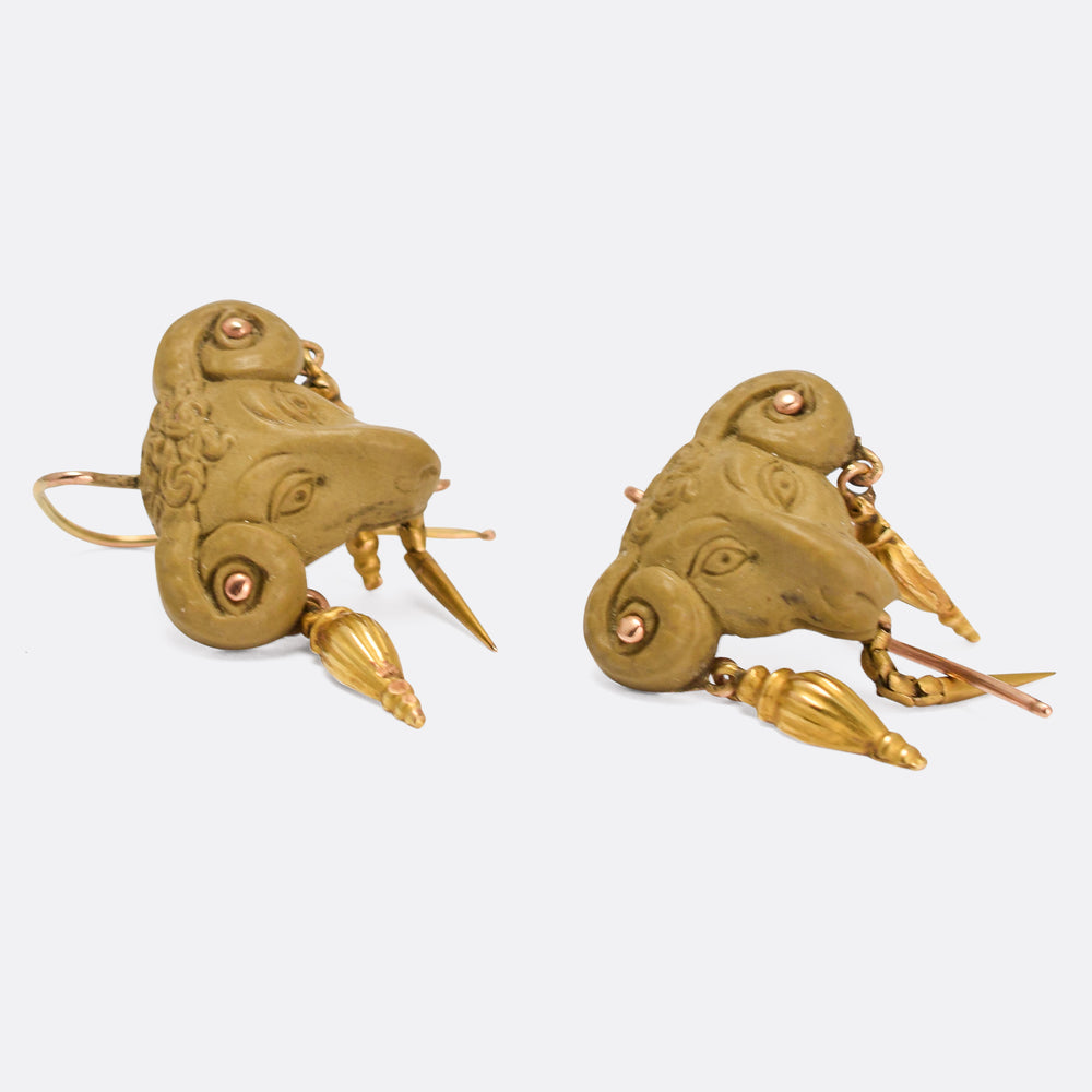 Victorian Archaeological Revival Ram's Head Earrings