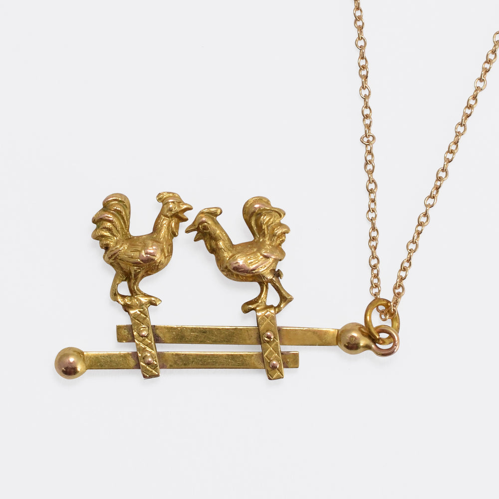 "Victorian Articulated ""Fighting Cocks"" Pendant"