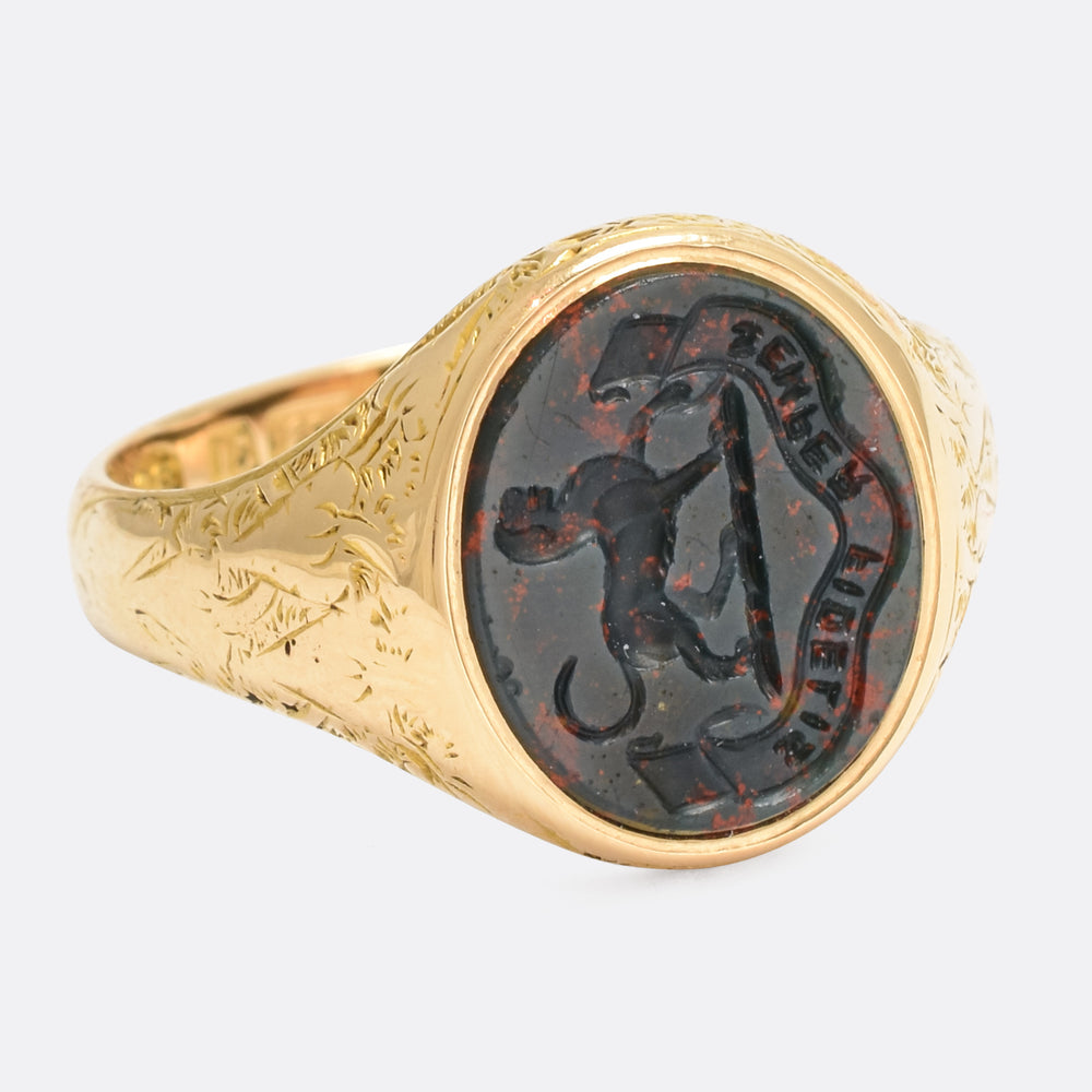 Victorian Bloodstone Dog Signet Ring