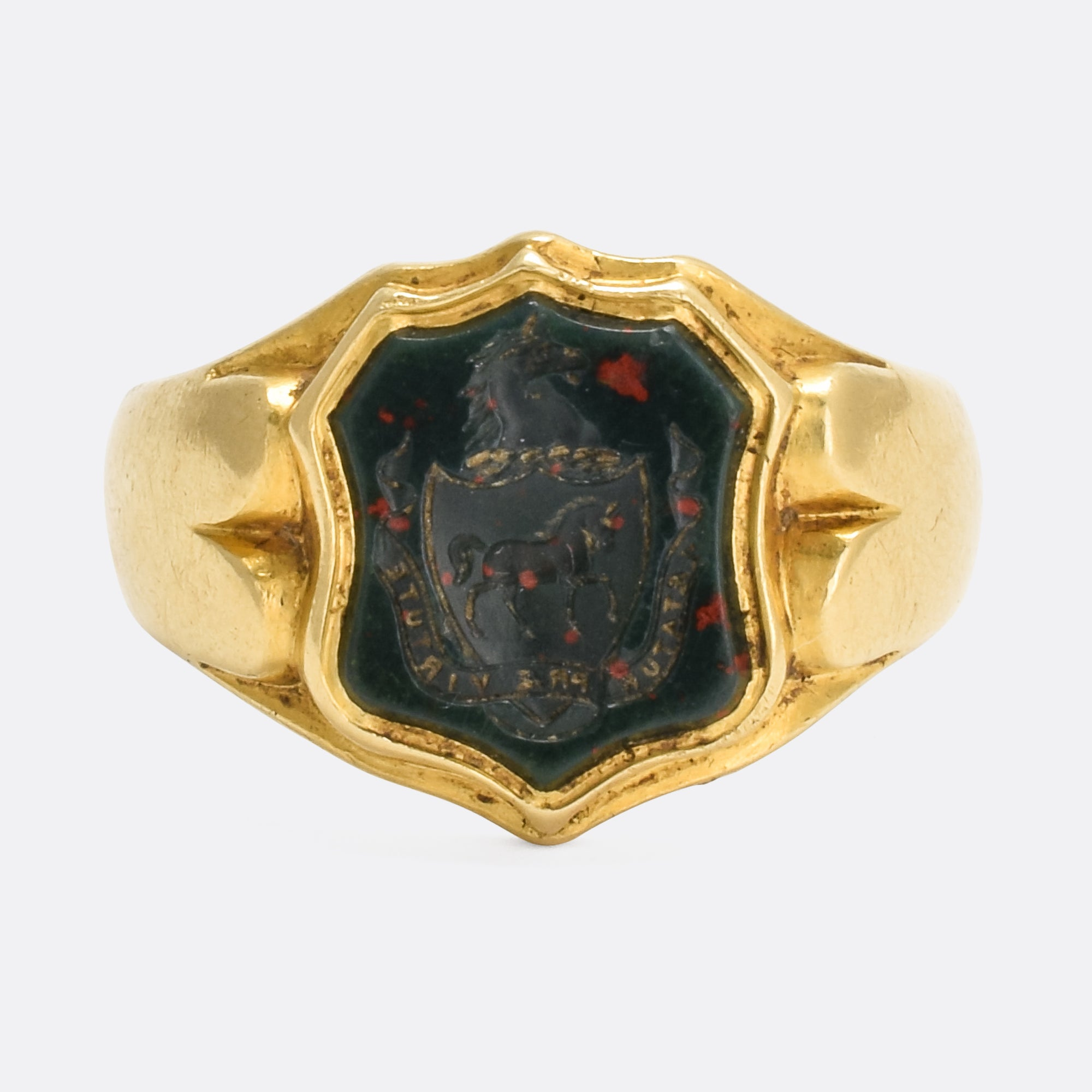 Victorian Bloodstone Horse Intaglio Signet Ring – Butter