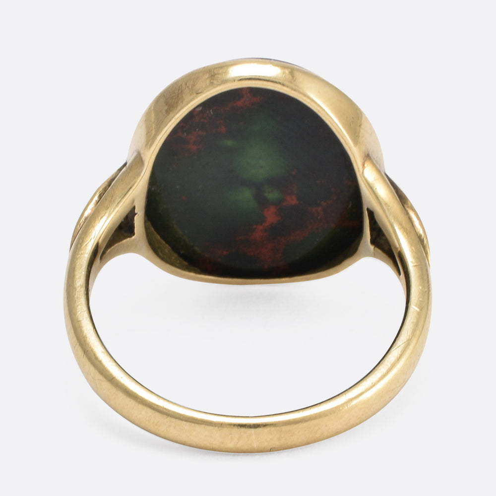 Victorian Bloodstone Mouse Intaglio Signet Ring