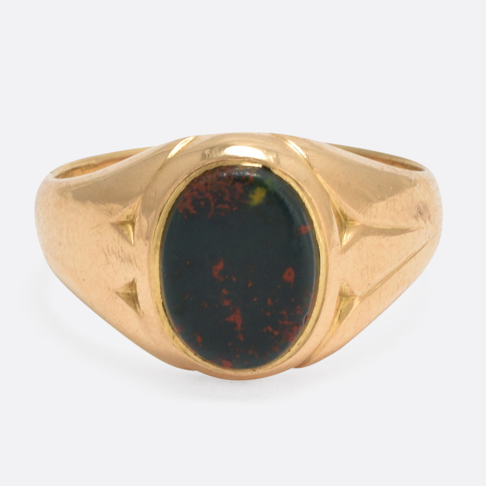 Victorian Bloodstone Oval Signet Ring