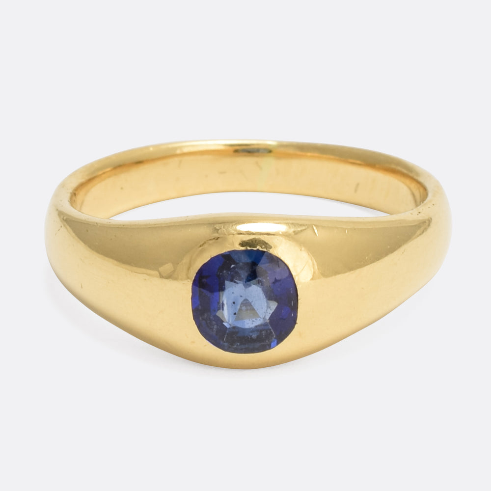 Victorian Blue Sapphire Solitaire Gypsy Ring