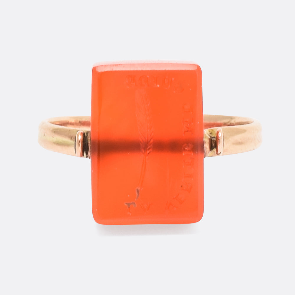 "Victorian Carnelian Spinner Ring ""The Truth is My Guide"""