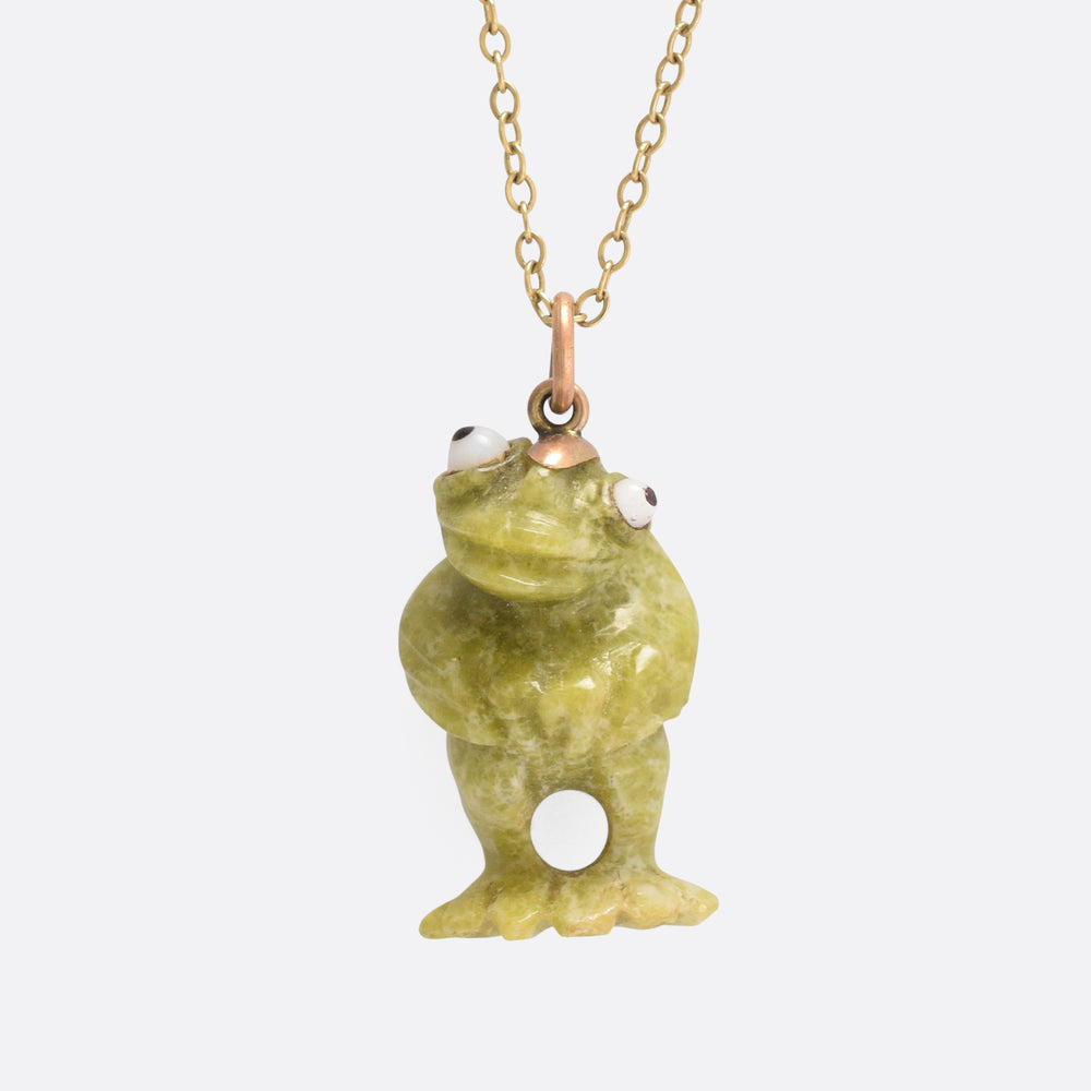 Victorian Carved Connemara Marble Frog Pendant
