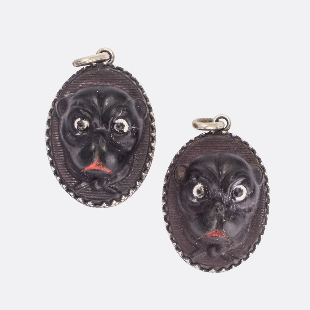 Victorian Carved Pug Pendant