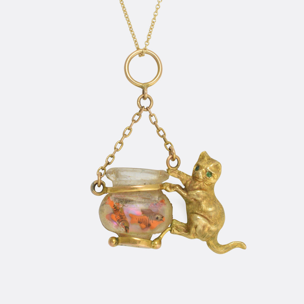 Victorian Cat & Goldfish Novelty Pendant