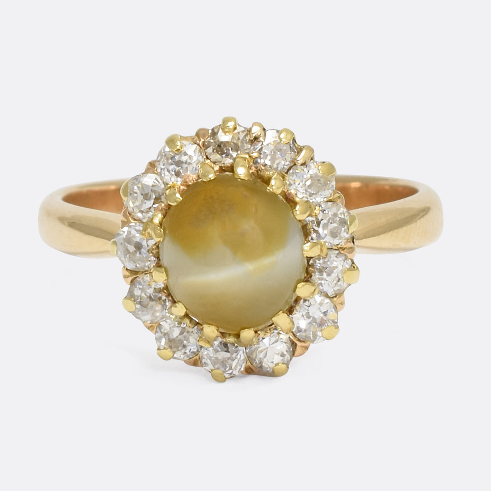 Victorian Cat's Eye & Diamond Cluster Ring